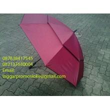 Payung golf susun merah marun 01