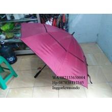 Payung golf susun promosi rangka fiber merah marun