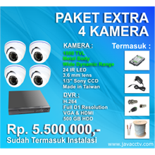 Promo Paket Cctv 4 Channel Xtra High Resolution ( 1000 Tvl)