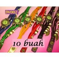 Jual Jw002 - Grosir 10 Buah Jam Tangan Wanita Sulaman Kulit Berpendan Daun