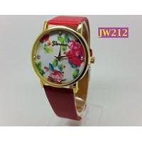 Jam Tangan Wanita Bunga Ros Tali Kulit Geneva Brand - JW212 Merah