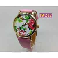 Jam Tangan Wanita Bunga Ros Tali Kulit GENEVA Brand - JW212 Pink
