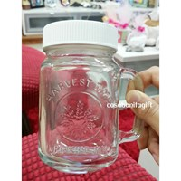 Drinking Jar Harvest Time With Lid ( Tutup )