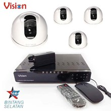 Paket Kamera 4 Pcs 500 TVL Color CMOS Indoor CCTV Dome Camera dan DVR Recorder 4 Channel H264 - Paket Kamera CCTV