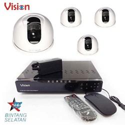 Paket Kamera 4 Pcs 500 TVL Color CMOS Indoor CCTV Dome Camera dan DVR Recorder 4 Channel H264 - Paket Kamera CCTV