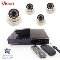 Sell Camera Package 4 Pcs 1000 TVL CMOS Color IR Indoor CCTV Dome Camera And DVR 4 CHNL H264
