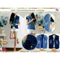 K010 Fur Sleeveless Jeans Vest +Kaos Spandek