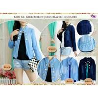 K087 Back Ribbon Jeans Blazer+Inner Spandek