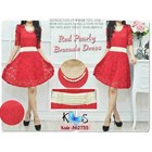 Dress Red Pearly Brocade