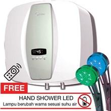 pemanas air water heater Midea D30-08 EVA kapasitas 30 liter ada remote control + hadiah shower LED bisa berubah warna sesuai kondisi suhu air