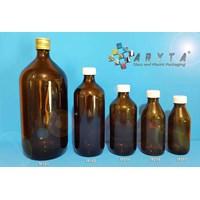 Botol kaca coklat 150ml 200ml 300ml 500ml 1000ml tutup plastik & kaleng