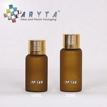 Botol kaca mossa coklat tutup gold garis 18ml & 20ml