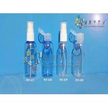 Botol Plastik PET 60ml Lena Natural & Biru Tutup Fliptop & Spray