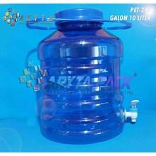 Galon Plastik 10Liter Biru Keran Gagang Panjang