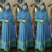 Baju Muslim airin biru bahan spandek korea mix brukat + bergo mix brukat + seleting depan