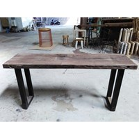 meja konsul kayu rail