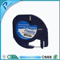 Jual Dymo Letratag plastik pita 12 mm hitam putih