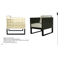 Sell MAVERICK LOUNGE CHAIR ESPRESSO Frame With NATURAL RAWHIDE ESPRESSO Frame With PUNTO NERO LOOM (BLACK And CREAM)