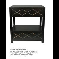 Atma Nightstand Espresso With Grey Penshell