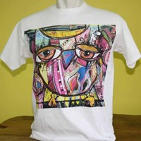 TShirt Men White Abstract dua