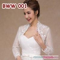 Jual Aksesoris Bolero Pesta Wedding Pengantin Lengan Panjang Putih-BWW 001