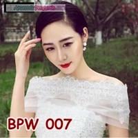 Jual Bolero Pesta Lace Pengantin Wanita l Cardigan Wedding Putih- BPW 007