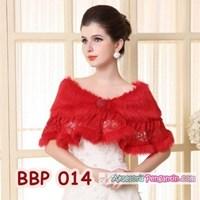 Jual Bolero Bulu Lengan Panjang Merah Pengantin l Cardigan Wedding -BBP 014