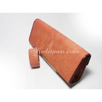 Tas Pesta Stingray Clutch Bag Simple (Kulit Ikan Pari) Merah Marun Polished