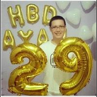 Jual Balon Foil Angka Warna Gold 80 Cm