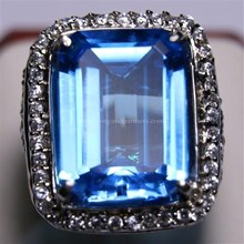 Natural Blue Topaz 22.93 ct Square Eight Step Cut Blue Irradiated