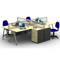PARTISI WORKSTATION HG Konf + 4 STAFF