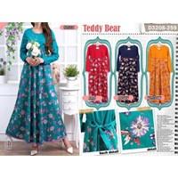 gamis teddy bear 3208 kombinasi atas polos bawah bunga bahan katun streect