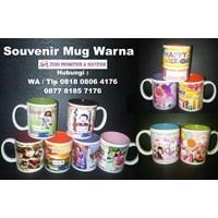 Jual Souvenir Mug Murah model warna dalam gelas promosi