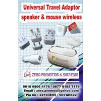 Jual Souvenir Universal Travel Adaptor speaker mouse wireless