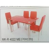 Meja Makan Kaca Rata 4 Kursi MK R 4022 ME Full Set
