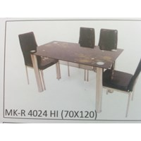 Meja Makan Kaca Rata 4 Kursi MK R 4024 HI Full Set