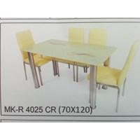 Meja Makan Kaca Rata 4 Kursi MK R 4025 CR Full Set