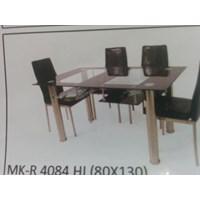 Meja Makan Kaca Rata 4 Kursi MK R 4084 HI Full Set