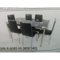 Jual Meja Makan Kaca Rata 6 Kursi MK R 6085 HI Full Set