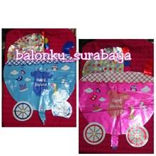 Balon Foil Stroller Balon Foil Balon Kereta Bayi  Balon Foil Baby Shower