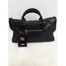 Balenciaga City Textured-Leather Tote in Black