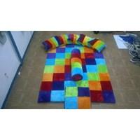 Karpet Set Karakter Motif Kotak Warna Warni