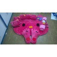 Karpet Set Karakter Hello Kitty Warna Pink