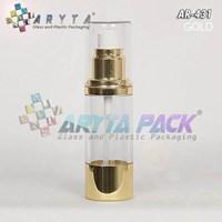 Jual Botol Airless Silinder Pump 20ml Bening Tutup Emas