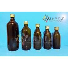 Botol Kaca Coklat 125ml 150ml 200ml 300ml 500ml Tutup Kaleng