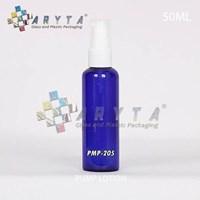 PMP205. Botol kaca biru 50ml tutup pump