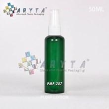 PMP207. Botol kaca hijau 50ml tutup pump