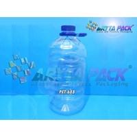 Jual PET688. Galon plastik bening PET 5 liter tutup ulir segel + tangkai