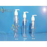 PET233. Botol plastik PET 200ml kotak ts6 tutup pu