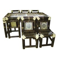 Jual Meja Kursi Makan Bambu - Set 6 Kursi